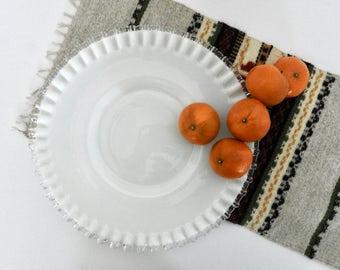 Fenton Milk Glass Silver-Crest Serving Plate