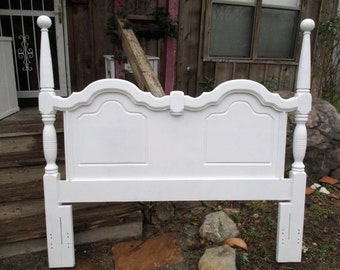 Queen headboard wood shabby chic bed hand carved ornate  french romantic white cannonball style origninal one of a kind