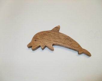 dolphin fridge magnet  oak wood scroll saw