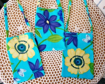 Hawaiian Inspired CELLPHONE POUCH Turquoise Yellow & Purple Flowers Fabric Strap Mini Neck Purse Bag Android Iphone - Ships free in US