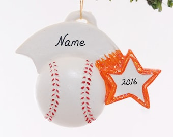 Personalized baseball Christmas ornament with orange team color star - personalized with name, team name, number and or year (50)