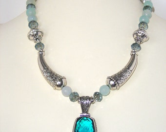 Blue Tourmaline Crystal Silver Glass Pewter Beaded Statement Necklace