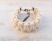 White Macramé Statement Bracelet