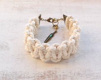 White Macramé Statement Bracelet