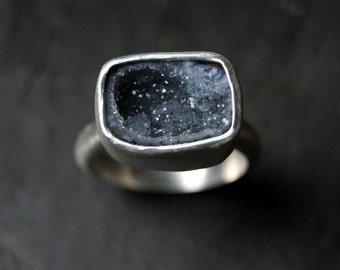 Grey Geode Druzy Ring in Sterling Silver - CUSTOM MADE