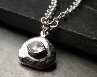 Herkimer Diamond and Sterling Silver Stone Necklace | east west setting, sterling silver pebble, wide chain