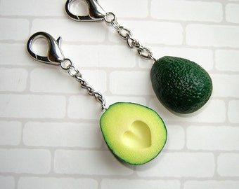 BFF key chain, polymer clay food charms, avocado with the stone in the shape of a heart, miniature food charm, gift , set of two.
