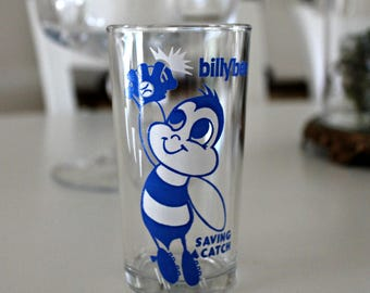 vintage Billy Bee Saving Catch drinking glass, novelty glass, 1960's glassware, advertising glassware, baseball collectible