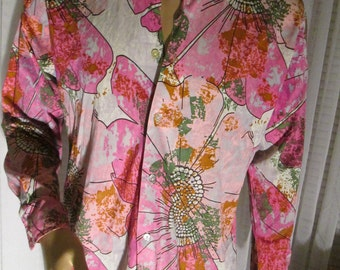 1970's Male SHIRT in Pinks, Black, White, Green and Brown Art Deco by Sears King's Road
