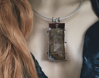 Boxed raw Quartz necklace | raw stone necklace, raw crystal pendant, Bohemian necklace, large crystal necklace, rustic quartz