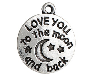2 Love You to the Moon and Back Charms - Antique Silver - 22x18mm  - Ships IMMEDIATELY from California - SC1318