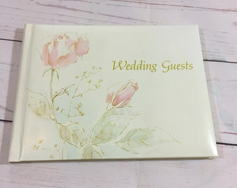 Vintage Wedding Guest Book Copyright 1977 CR Gibson 1000 Blank Spaces Rose Cover