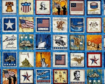 Quilting Treasures - Home of the Brave by Dan Morris - Patriotic Patches Panel - Blue