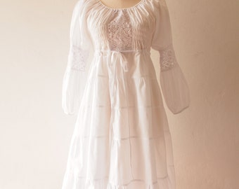 White Dress Boho Wedding Dress White Bohemian Dress Hippie Dress White Beach Lace Boho Dress Heirloom Vintage Style Dress