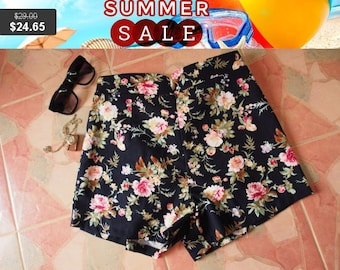 """Clearance SALE Floral High Waist Shorts - Black with Rose - Summer Shorts - Free Size Waist 26""""-28"""", Hip 35""""-37"""""""