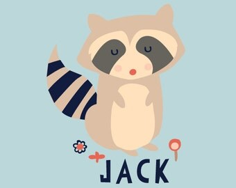 Personalized Baby Gift Art Print Raccoon