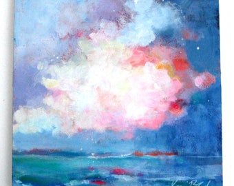 "Abstract Skyscape Painting, Clouds, Seascape, Acrylic Painting Original ""Cloud Over the Ocean"" 12x12"""