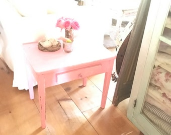 vintage pink table shabby chic side table farmhouse prairie