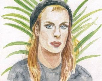 Brian Eno Portrait - Gouache Art