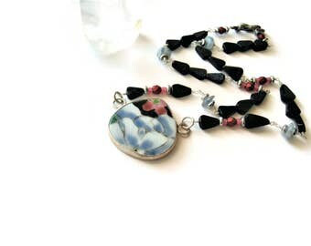 Ming Pottery Shard Necklace Ming Floral Shard Pendant Jewelry Repurposed Necklace Broken China Jewelry Spring Gift Trends Mothers Day Gift