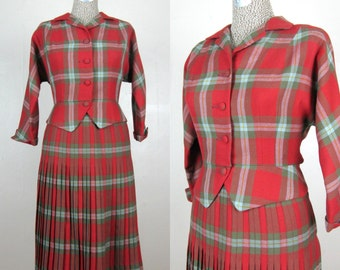 Vintage Early 1960s Plaid Suit 60s Red Wool Plaid Suit with Pleated Skirt by Suzanne Size M 26 Waist