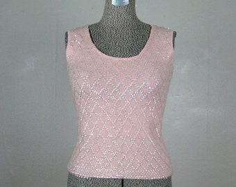 ON SALE // Vintage 1960s Pink Knit Shell top with Opalescent Sequins 60s Blouse Size 6 S/M