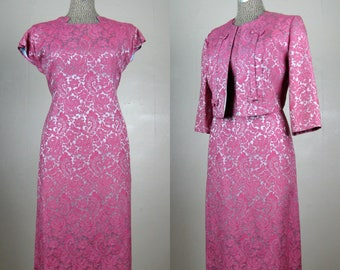 Vintage 1950s Dress and Jacket Set 50s Pink and Silver Cotton Brocade Dress Suit Size M
