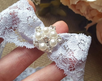 Wedding Garter - Pearl embellished something blue bridal garter
