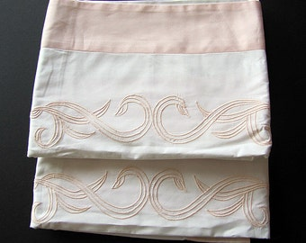 Pair(2) Matching Vintage FRETTE Italian White with Peach Border Pillow Shams ON SALE
