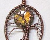 Unisex Double Trunk Golden Labradorite Pendant, Antiqued Copper and Golden Labradorite Tree of Life