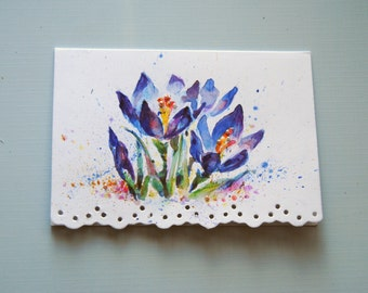 Watercolor Flowers Card. Crocuses. Hand Painted Watercolor Card,Victorian style Crocus, Watercolor Card