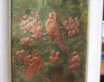Vintage Copper Picture with Flowers and Birds