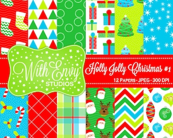 SALE  Christmas Digital Paper - Christmas Scrapbook Paper - Holiday Digital Paper - Winter Digital Paper - Personal & Commercial Use