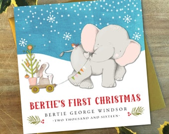 Personalised Baby's First Christmas Card | Baby Elephant or Bunny
