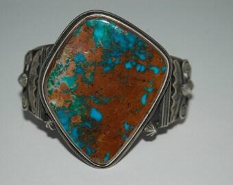 Gorgeous Vintage Navajo Freddie Maloney Red Mountain Mountain Turquoise Bracelet 81 Grams