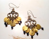 Reserved for Rachel Handmade Chandelier Metalwork Earrings with Brass Hand Cut Discs and Agate Cubes by EV.I.