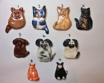 Cat or Dog Polymer Clay Brooches- Choice of 9 Styles