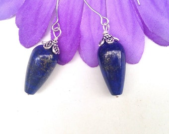 Lapis Lazuli Earrings  Sterling silver Dark Blue Earrings Blue Lapis Earrings Long dangles by Lyrisgems