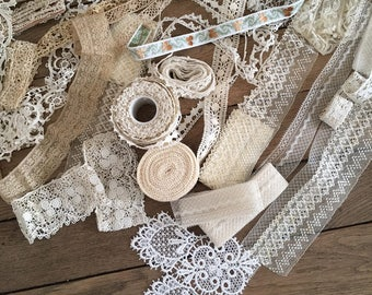 COLLECTION of Antique and Vintage French Lace //