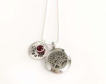 Essential Oil Diffuser Necklace - Gift for Mom - Aromatherapy Necklace - Tree of Life Necklace -Quality - Personalized - Diffuser