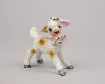 Cheerio Halo Ceramic Lamb, Sugar Texture, Cheerful Spring or Easter Item made in Japan
