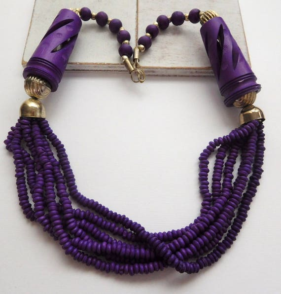 Vintage India Purple Carved Bead Layered Multi-Strand Silver Ring Necklace T19