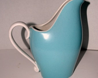 on sale vintage  Metlox   turquoise and creme pitcher mid century modern