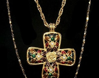Cross Pendant Chain Necklace Red Green Enamel Pearl Beads Roses 38' Holidays Vintage