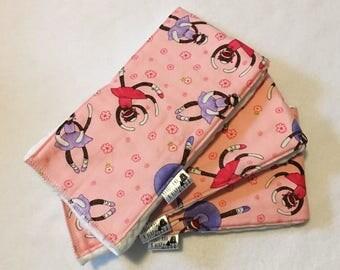 Set of 3 Pink Sock Monkey Burp Cloths