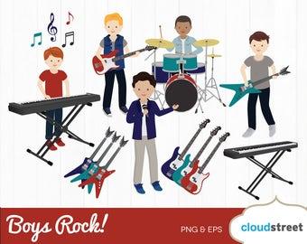 20% OFF Boys Rock clipart / boy rock band clip art / boy music rock star clipart / drum guitar keyboard / commercial use ok