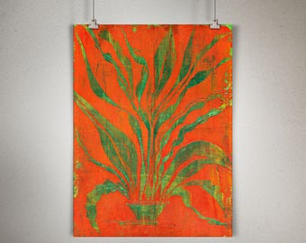 "Plant Study 0001 PAINTING on CANVAS SHEET 12"" x 16"", Snake Plant, Sansevieria, Green Leaves, Orange Background"