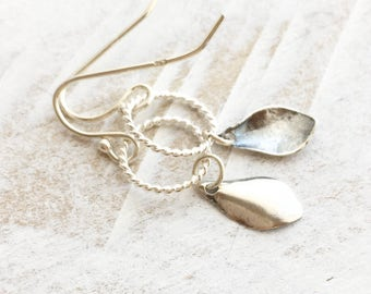 Leaf Earrings, Sterling Silver Leaf Circle Earrings, Sterling Silver Earrings, Dainty Jewelry, Everyday Jewelry, Minimalistic Jewelry/Gift