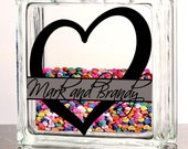 Personalized Gift - 2 Color Vinyl - Personalized Split Monogram 8x8 Glass Block - Choose Your Free Fill - Corks, Seashells, Marbles, Hearts