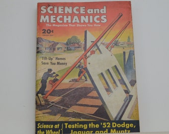 Science and Mechanics Magazine, February 1952 - Great Condition - Fascinating Articles, Hundreds of Vintage Ads, Harley Davidson 125 Ad